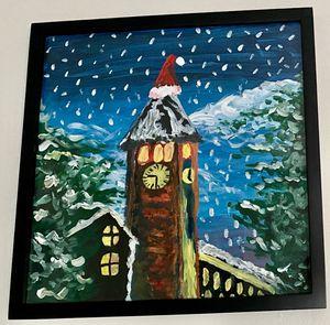 Cornell Clock Tower Winter Scene - Original Artwork for Sale in Ithaca, NY
