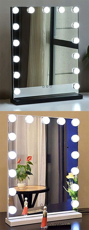 """(New in box) $100 Vanity Mirror w/ 15 Dimmable LED Light Bulbs Beauty Makeup 16x20"""" (White or Black) for Sale in Whittier, CA"""