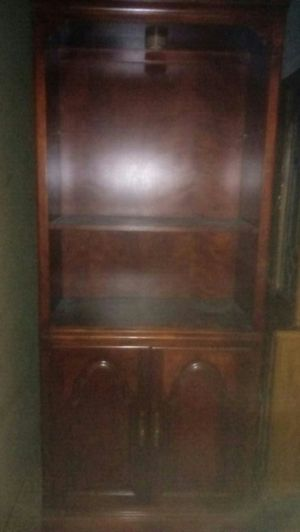 Cherry finish bookshelves/ lower cabinet GUC for Sale in Portland, OR
