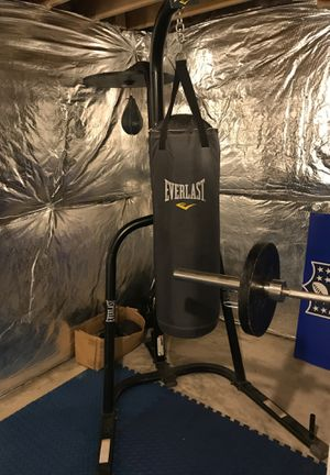 Everlast speed and punching bag /weirder pro 800 weights lifting bench also extra weights also pro weight lifting bar for Sale in Laurel, MD