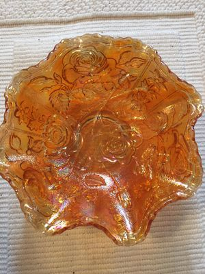 ANTIQUE CARNIVAL GLASS MARIGOLD FLUTED ROSE PATTERN for Sale in Scappoose, OR