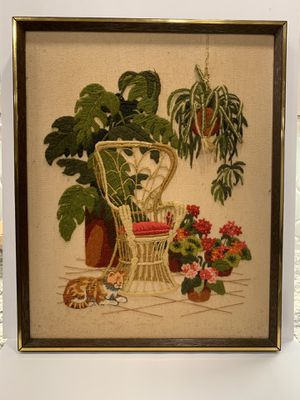 Vintage | Boho | peacock chair | succulents | crewel | cross stitch | art work | Picture for Sale in Siler City, NC
