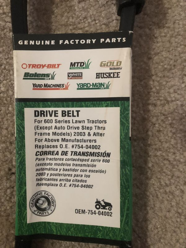 Drive belt for Lawn tractor 600 series