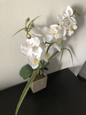 Small fake white flower plant, table decor pot for Sale in Los Angeles, CA