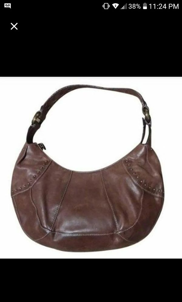 """· Fossil Leather Studded Hobo Bag · ·· 14""""(H) x 9""""(L) x 4""""(W) ··"""