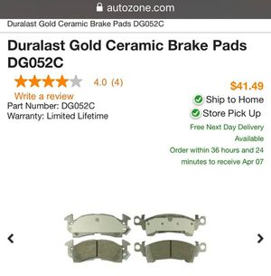 Duralast Gold Ceramic Brake Pads DG052C for Sale in Las Vegas, NV