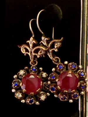 Antique Roxelana Style Ruby & Sapphire Topaz Silver Drop Dangle Flower Earrings for Sale in Nashville, TN