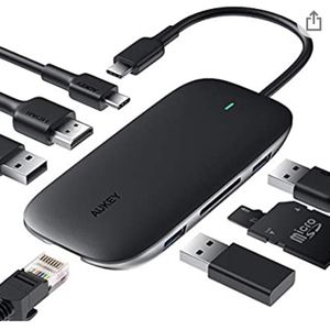 AUKEY USB C Hub 8-in-1 Type C Adapter with Ethernet Port, 4K USB C to HDMI, 2 USB 3.0 and 1 USB 2.0, 100W USB C Power Delivery Charging, SD/TF Card fo for Sale in San Jose, CA