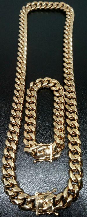 "18k Gold Stainless Steel Bonded 12mm Cuban Link 24"" Chain & 8"" Bracelet Set Brand New in Box for Sale in Boca Raton, FL"