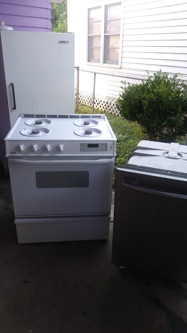 All three freezer stove dishwasher