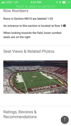 Iron Bowl tickets 2, section NN row 10 for Sale in Birmingham, AL