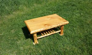 Rustic Log Coffee Table with shelf for Sale in Leavenworth, WA