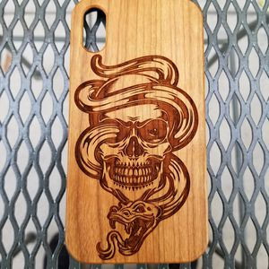 Skull with Snake design laser engraved wood case for Sale in Newport Beach, CA