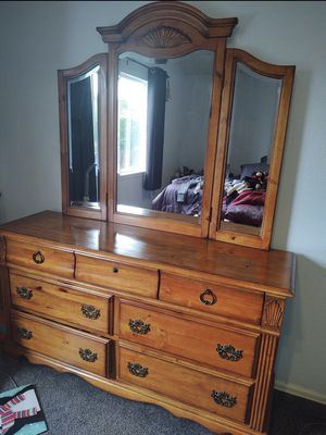 Real wood Dresser and four post bed set for Sale in Thornton, CO