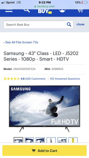 43 in samsung tv only had for two months brand new used barely for Sale in Manassas, VA