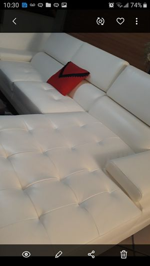 SECTIONAL LEATHER WHITE IN L.DELIVERY SERVICE FREE for Sale in Hollywood, FL