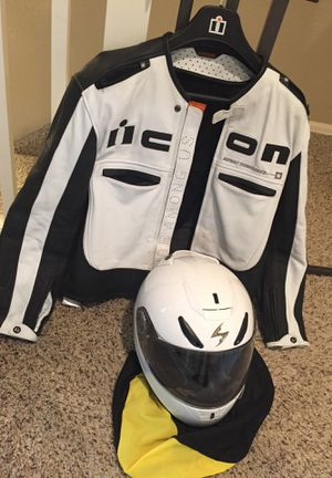 Icon MotorCycle Jacket and Snell Helmet for Sale in Aurora, CO