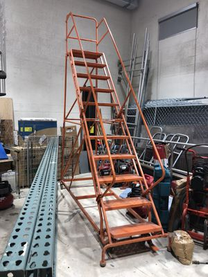 11 Step Mobile Ladder with wheels handrails Industrial TriArc 11 Step Steel Easy Turn Rolling Ladder for Sale in Miami, FL
