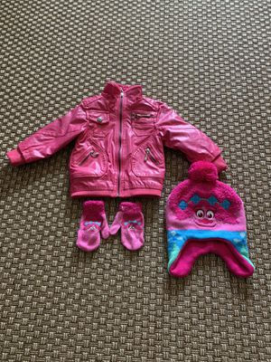 Pink Vogue Jacket & DreamWorks Trolls Beanie/Gloves Age 2 for Sale in Carlsbad, CA