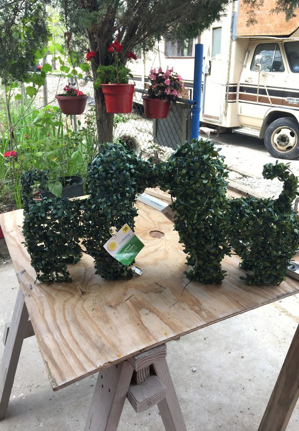 Lighted dog topiary Pair