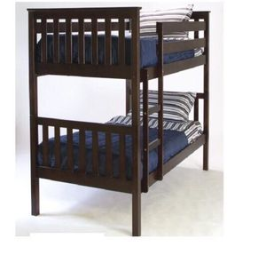 Twin over twin bunk bed wood new with thick mattress included new for Sale in West Palm Beach, FL
