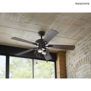 Home Decorators Collection Ellard 52 in. LED Matte Black Indoor Ceiling Fan with Lights for Sale in Dallas, TX