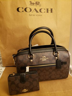 COACH BROWN WITH BLACK LOGO PURSE AND WALLET SET for Sale in Santa Monica, CA
