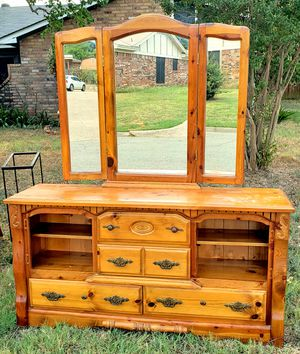 Free Dresser and Hinged Mirror with Built in Lighting!!! for Sale in North Richland Hills, TX