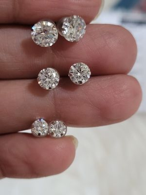 10k white Gold set of 3 simulated Diamonds 💎 earrings 3.80 ctw. for Sale in Round Rock, TX