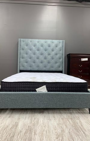 Brand New [SPECIAL] Chantilly Gray Upholstered Queen Bed Frame for Sale in Jessup, MD