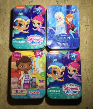 4 pk BRAND NEW KIDS THEMED PUZZLES IN COLLECTIBLE TINS DISNEY NICKELODEON FROZEN GAMES CHILDREN'S TOYS for Sale in Greenville, SC