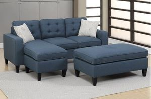 Brand New Navy Blue Linen Sectional Sofa Couch + Ottoman for Sale in Arlington, VA