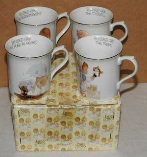 Vintage Precious Moments Blessed Are Porcelain Coffee Mug Set of 4 E-3995 for Sale in Temecula, CA