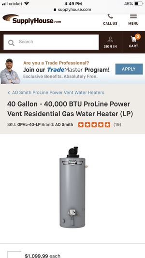 Water heater 40 gallon for Sale in Baltimore, MD