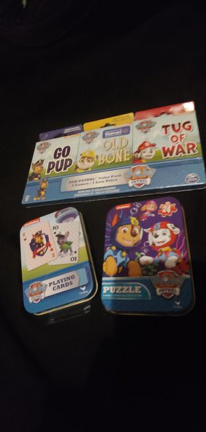 New! PAW Patrol 3 Games Value Pack w/Go Pup, Old Bones, and Tug of War also A Deck of Paw Patrol Playing Card and Puzzle for Sale in Los Angeles, CA