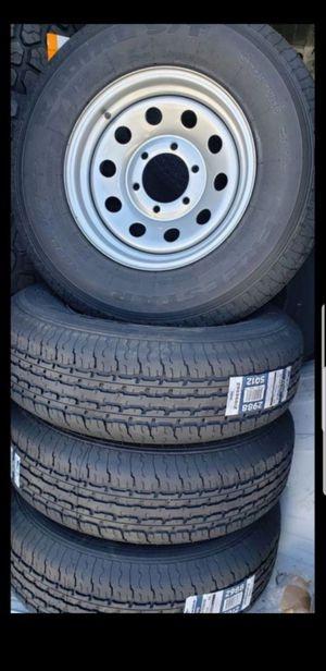 4 New 225-75-15 Trailer Tires Silver Steel Wheels/Rims 6 Lug 6x5.5 bolt load E 10 ply 80psi tire for Sale in Moreno Valley, CA