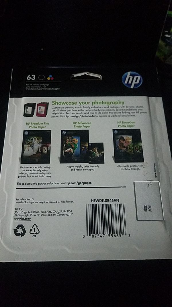 Hp printer ink 63 (double pack black and tri color)