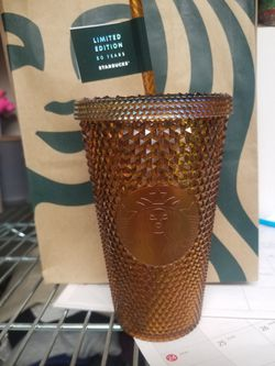 Starbucks 2021 Studded Honeycomb Gold Grande Tumbler 50th Anniversary Cold Cup for Sale in Garland,  TX