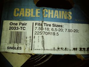 Truck cable chains , tire chains for Sale in Snohomish, WA