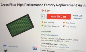 Mercedes E320 Green performance 2295 filters for Sale in Carlsbad, CA