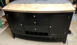 Marble top table with 6 black leather chairs and matching buffet server $795 for Sale in Sugar Hill, GA