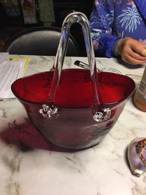 Red Glass Purse Very Collectible Hand Blown Glass Vase for Sale in Seattle, WA