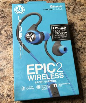 NIB JLab Audio Epic 2 Bluetooth 4.0 Wireless Sport Earbuds Goes with both Apple & Android for Sale in Philadelphia, PA