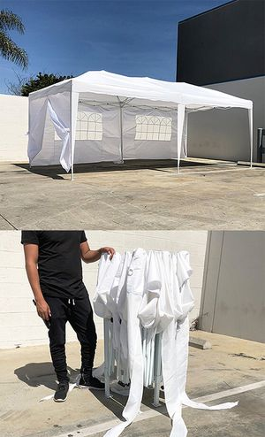 Brand new $170 Easy Popup 10x20 ft EZ Pop Up Canopy w/ 6 Side Walls, Carrying Bag, White for Sale in Pico Rivera, CA