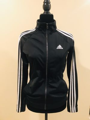 Adidas jacket blouse tracksuit top hoodie shirt top tee t-shirt long sleeve black slim fit pockets no hood track blouse for Sale in Gaithersburg, MD