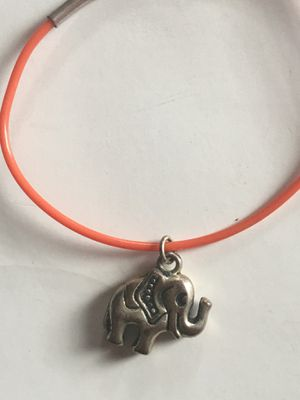 SILVER AND ORANGE CABLE BRACELET ELEPHANT CHARM for Sale in New Castle, DE