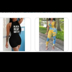 BODY SUITS 2 LEFT SEE THROUGH SMALL, MEDIUM LEFT AND YELLOW BLUE BODY SUIT 2X LEFT BODY SUITS 25$ AND ROMPERS SIZE SMALL 20$ for Sale in Tampa, FL