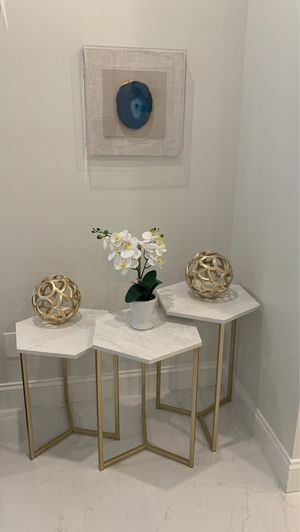 end table gold and white for Sale in St. Louis, MO