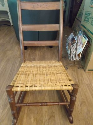 Wicker wood child rocking chair antique for Sale in Tigard, OR