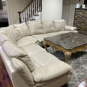 Leather Sectional Sofa With Antique Marble Center Table for Sale in Hicksville, NY
